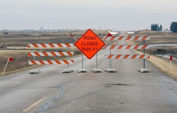 Road Closed barricades