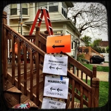 Directional signs on set