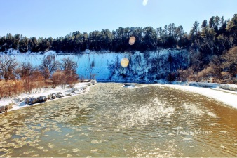 Icy Niobrara river in February